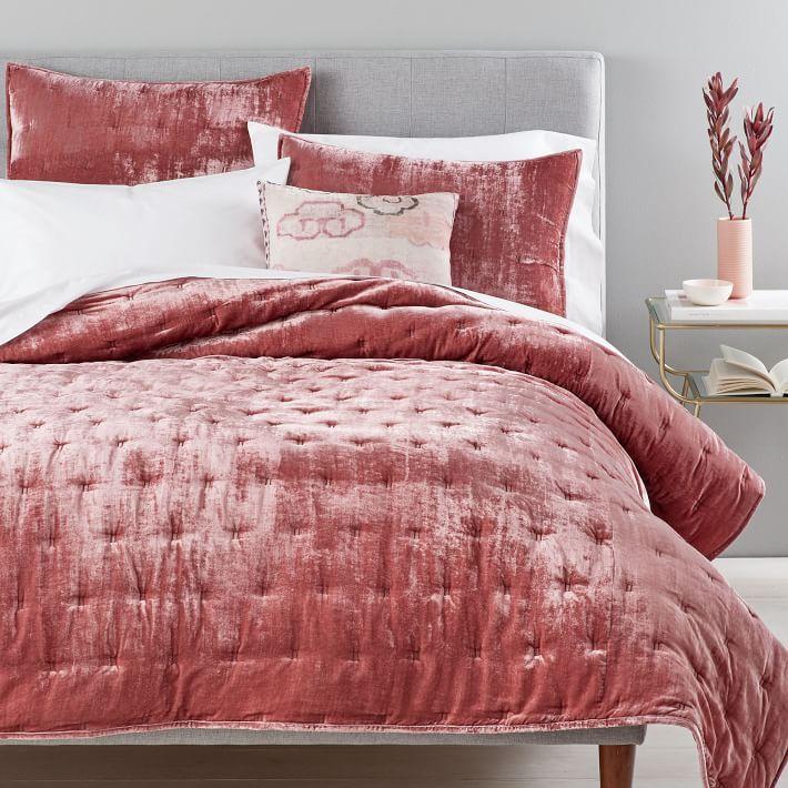 Jardin Quilted Velvet Quilt Cover: Lush Velvet Tack Stitch Quilt & Shams