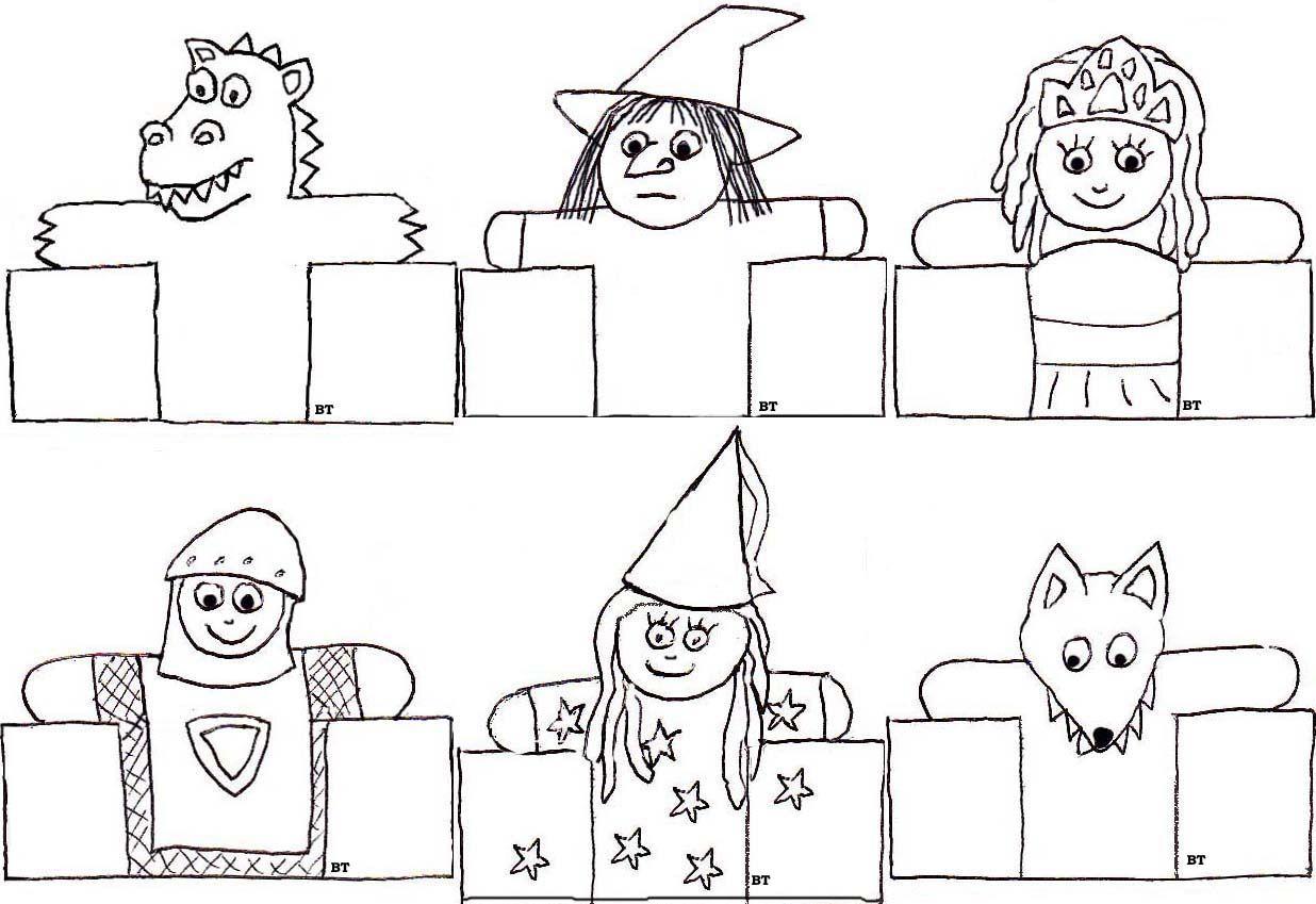 marionnettes doigts de papier image et coloriage. Black Bedroom Furniture Sets. Home Design Ideas