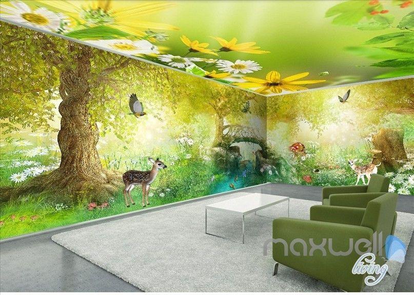 Fairy tale forest deer butterfly entire kids room wallpaper 3D wall ...