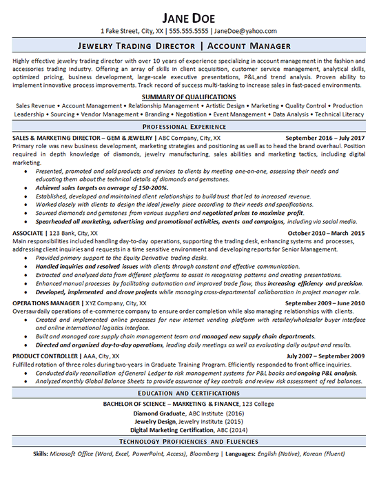 Jewelry Trading Resume Examples Operations Management Business Development