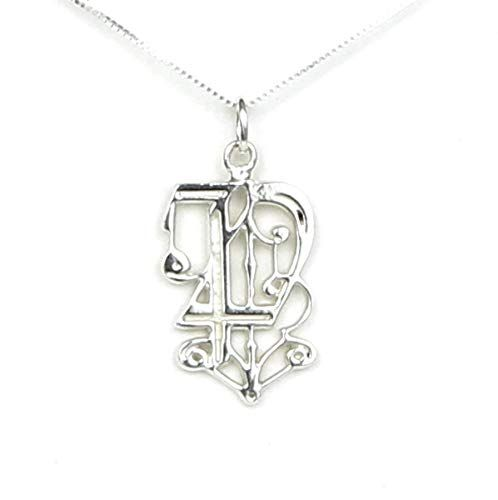 Initial Letter P Solid Sterling Silver Monogram Necklace
