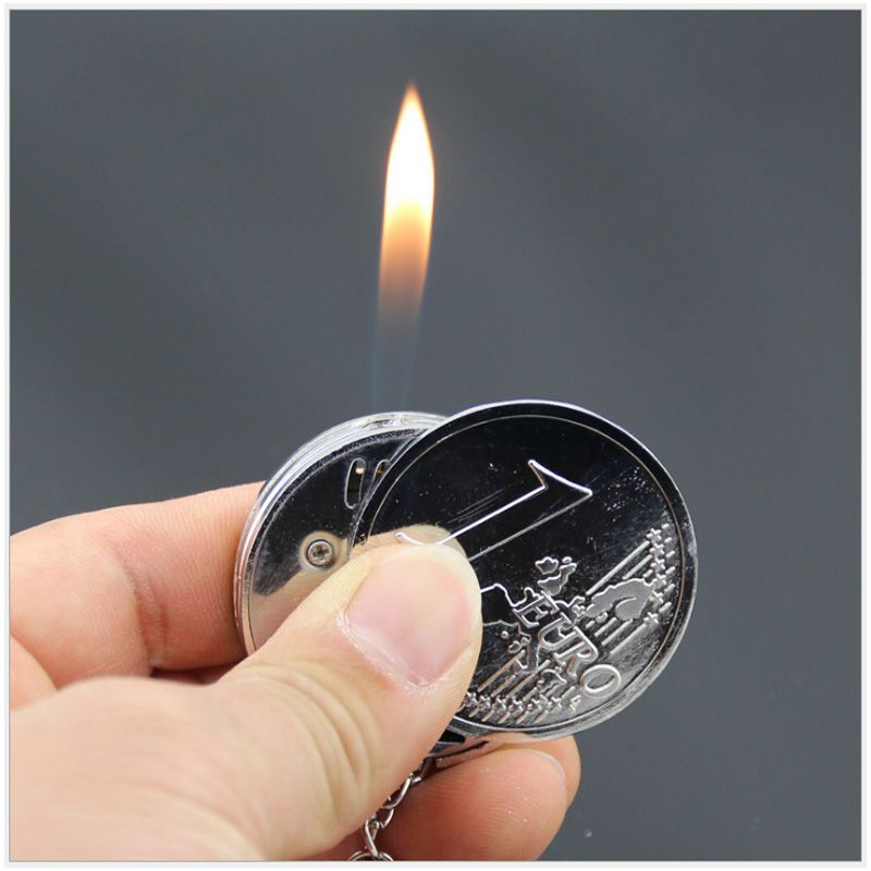 Fashion Creative Mini Coin Shaped Butane Flame Lighter Metal Torch
