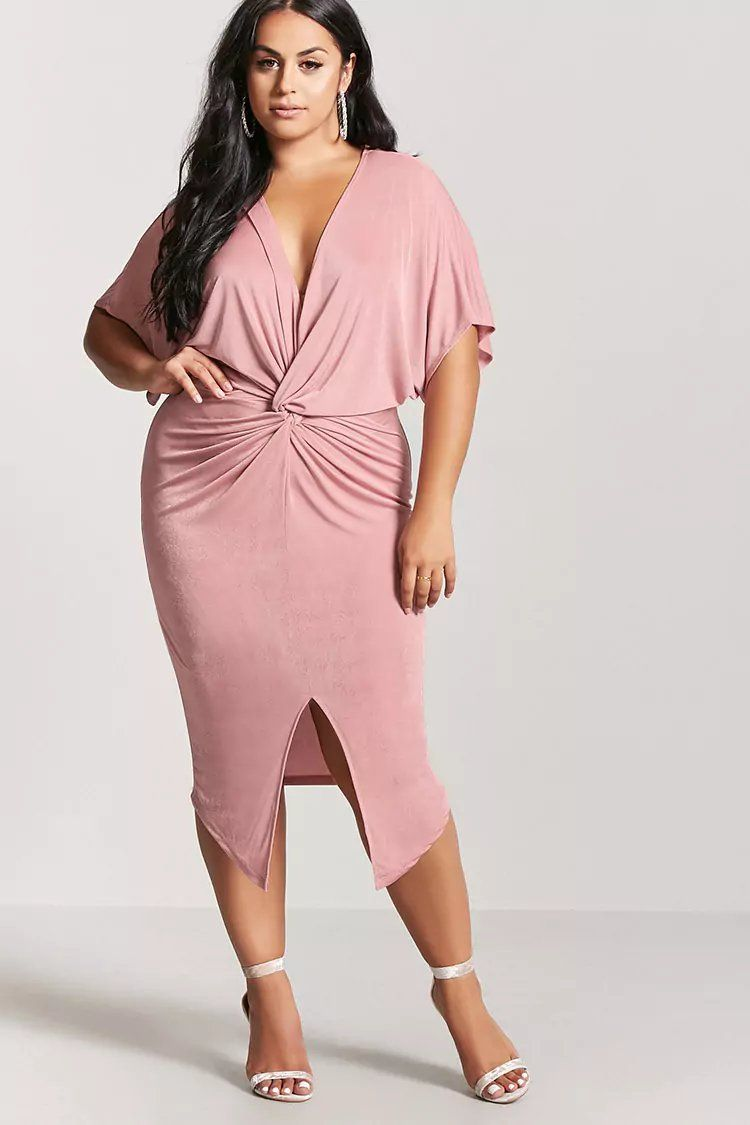 Product Name:Plus Size Twist-Front Dress, Category:CLEARANCE_ZERO ...