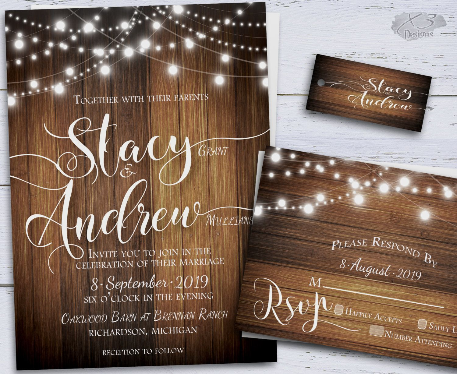 second wedding invitations wording%0A Country Wedding Invitation Set Barn Wedding Invitation Rustic Wedding  Invitation Wood Wedding Invitation Light Strings Wedding Invitation    Country fall