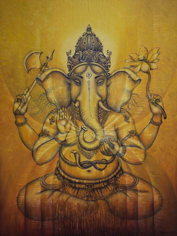 Ganesha Print featuring the painting Ganesha Darshan by Vrindavan Das