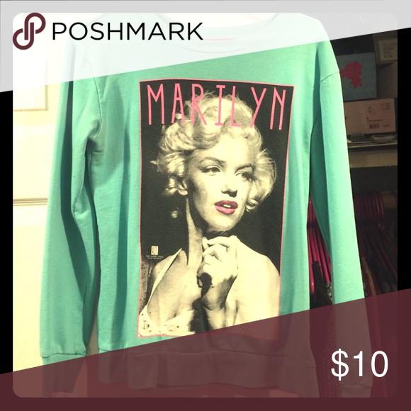 Marilyn Monroe sweater Turquoise Marilyn M   sweater Sweaters Crew & Scoop Necks