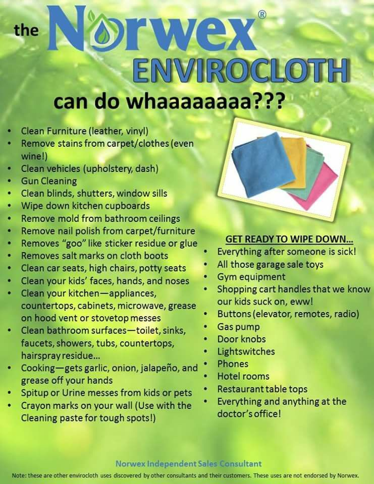 The Norwex EnviroCloth has so many great uses! Visit www