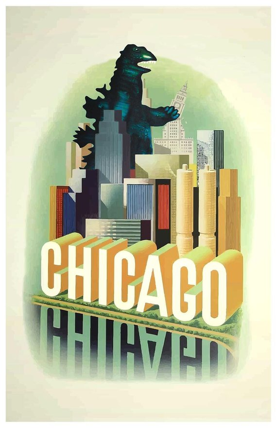 Chicago Art Monsters Travel Poster Chicago Kaiju Monster Art