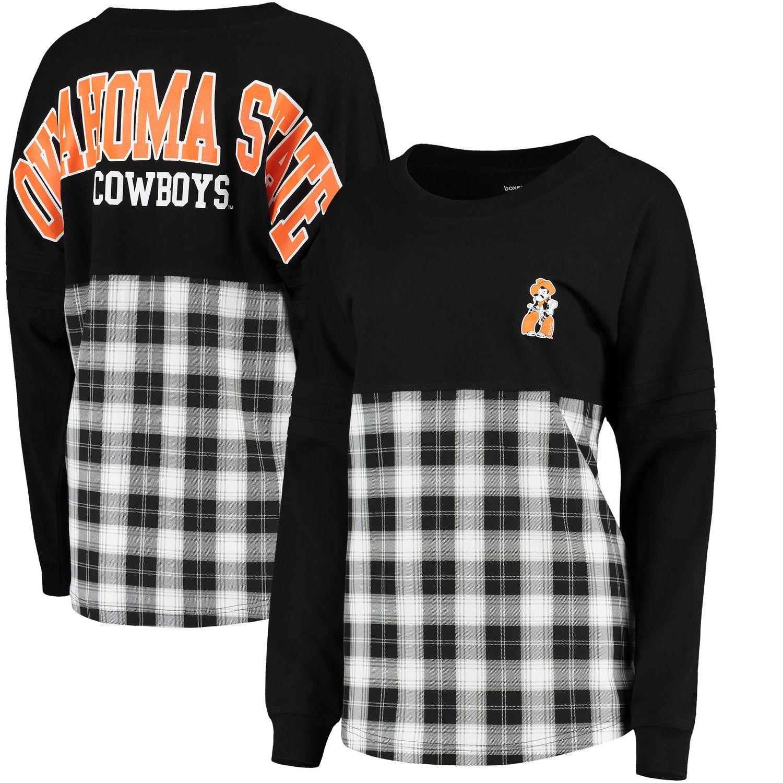 cb69bdcfac2 Oklahoma State Cowboys Women s Split Plaid Pom Pom Long Sleeve T-Shirt -  Black