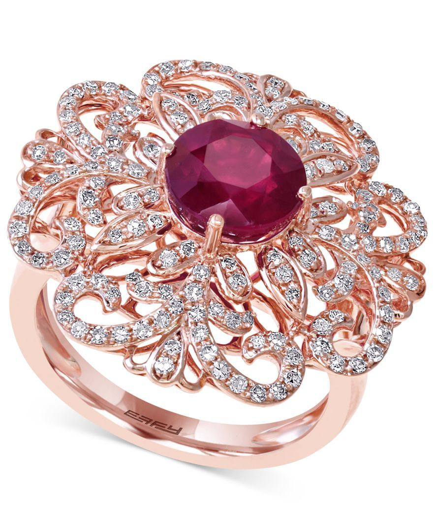 Effy Ruby (2-5/8 ct. t.w.) and Diamond (5/8 ct. t.w.) Flower Ring in ...