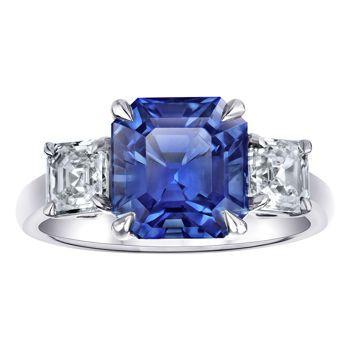 Square Emerald Cut Blue Sapphire & Diamond Platinum Ring