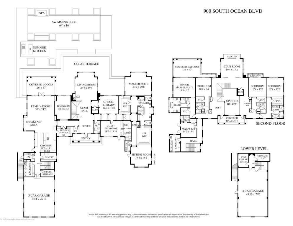 900 S Ocean Blvd Palm Beach Fl Mansion Floor Plan Vacation House Plans Luxury House Plans