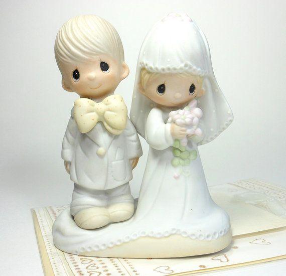 Vintage Wedding Topper Bride Groom 1979 Precious Moments Porcelain Bisque Figuri Precious Moments Dolls Cake Topper Wedding Romantic Precious Moments Figurines