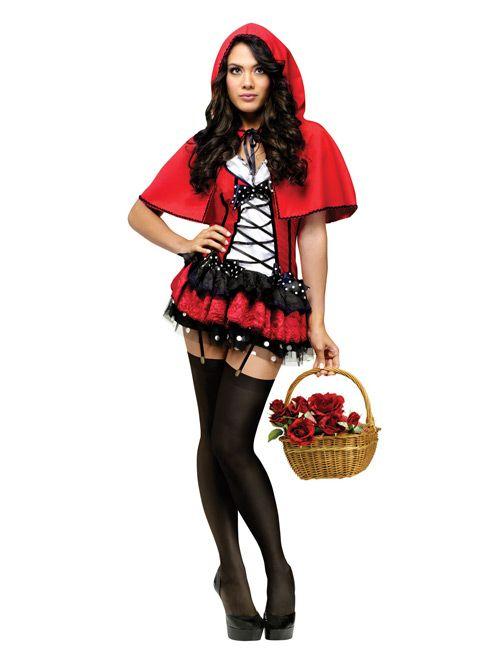 Sexy Rotkappchen Damen Kostum Rot Schwarz Weiss Artikelnummer
