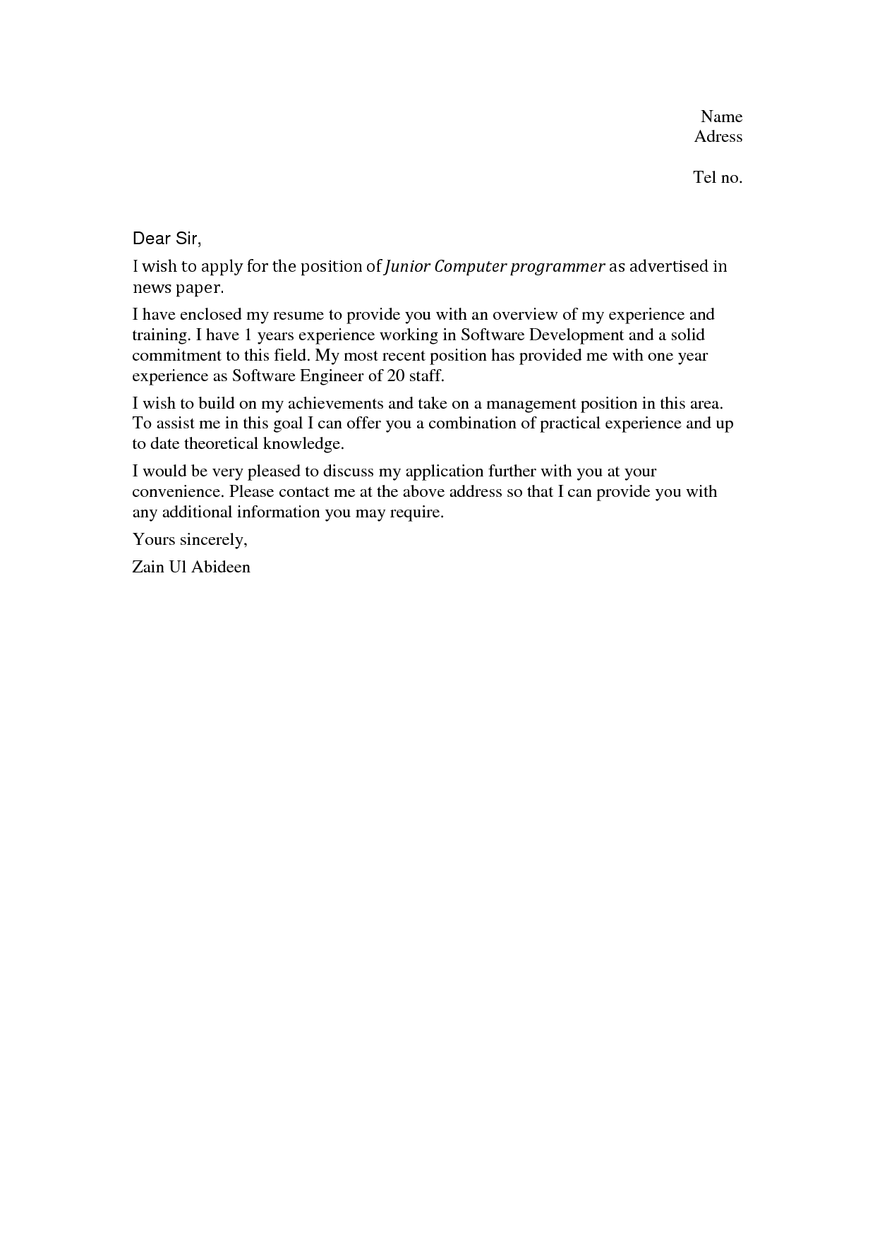 sample cover letter for job