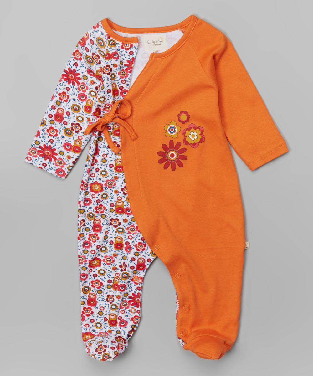 Orange Floral Organic Wrap Footie - Infant