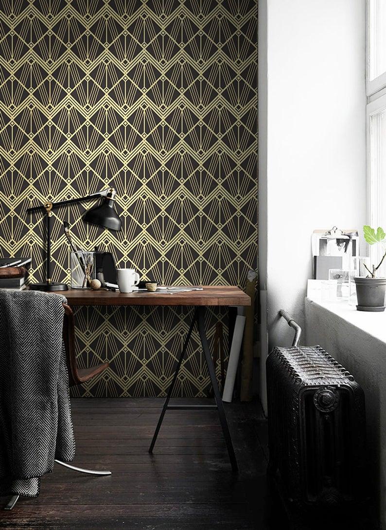 Abstract Art Deco Modern Tiles Removable Wallpaper Golden And Etsy Modern Tiles Removable Wallpaper Art Deco