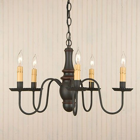 Country Inn Five-arm Wooden Chandelier Light Fixture in Black over Red