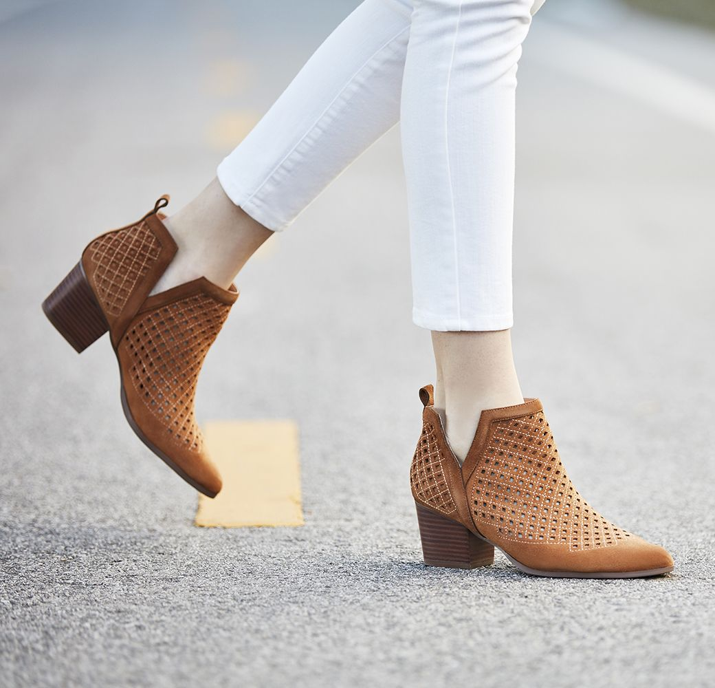 c76ed3d95f4 Perforated suede booties with diamond stitching