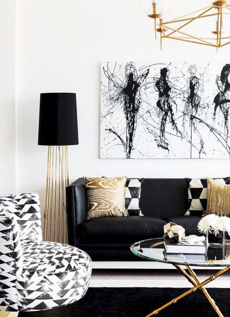 Black White And Gold Living Room Design