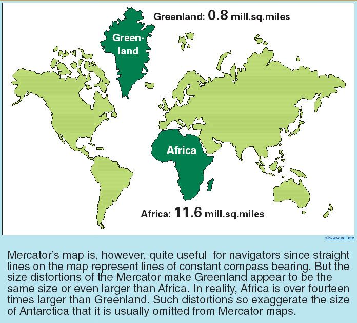 Mercator map   illustration of size/area distortion | Maps | Map