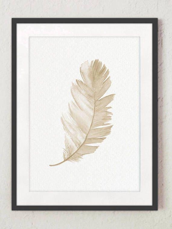 Taupe Braun Beige Und Gelb Faux Gold Aquarell Poster. Minimalistische  Druckgrafik Vogel Federn Bild. Kinderzimmer Kinderzimmer Dekor Licht Malerei .
