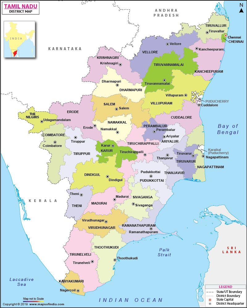 Tamil Nadu District Map Map, Detailed map, Tamil nadu