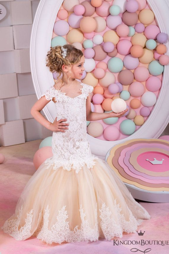 Ivory and Blush Flower Girl Mermaid style Dress -Wedding Party ...