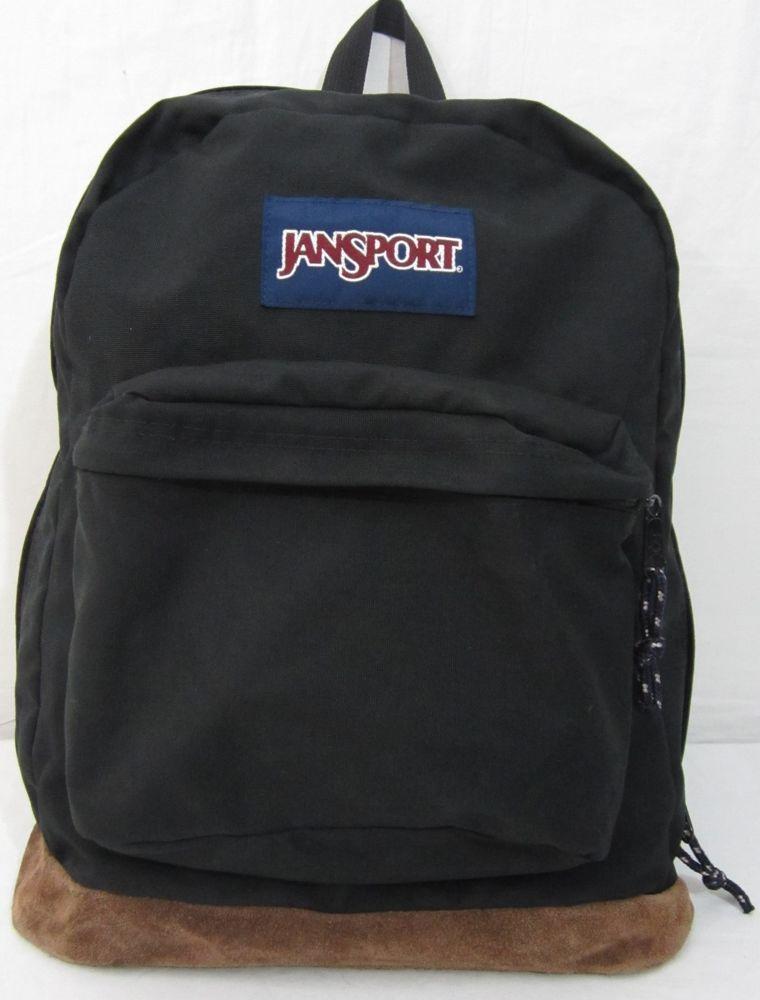 6b5433c954 Vintage Jansport Black Suede Leather Bottom Backpack Hiking Book Bag   JanSport  Backpack