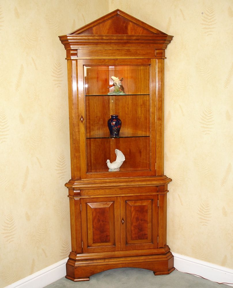 Open front cherry wood corner cabinet an open front double - Glass corner shelf for living room ...