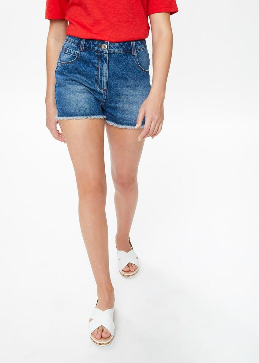 high waisted denim shorts matalan