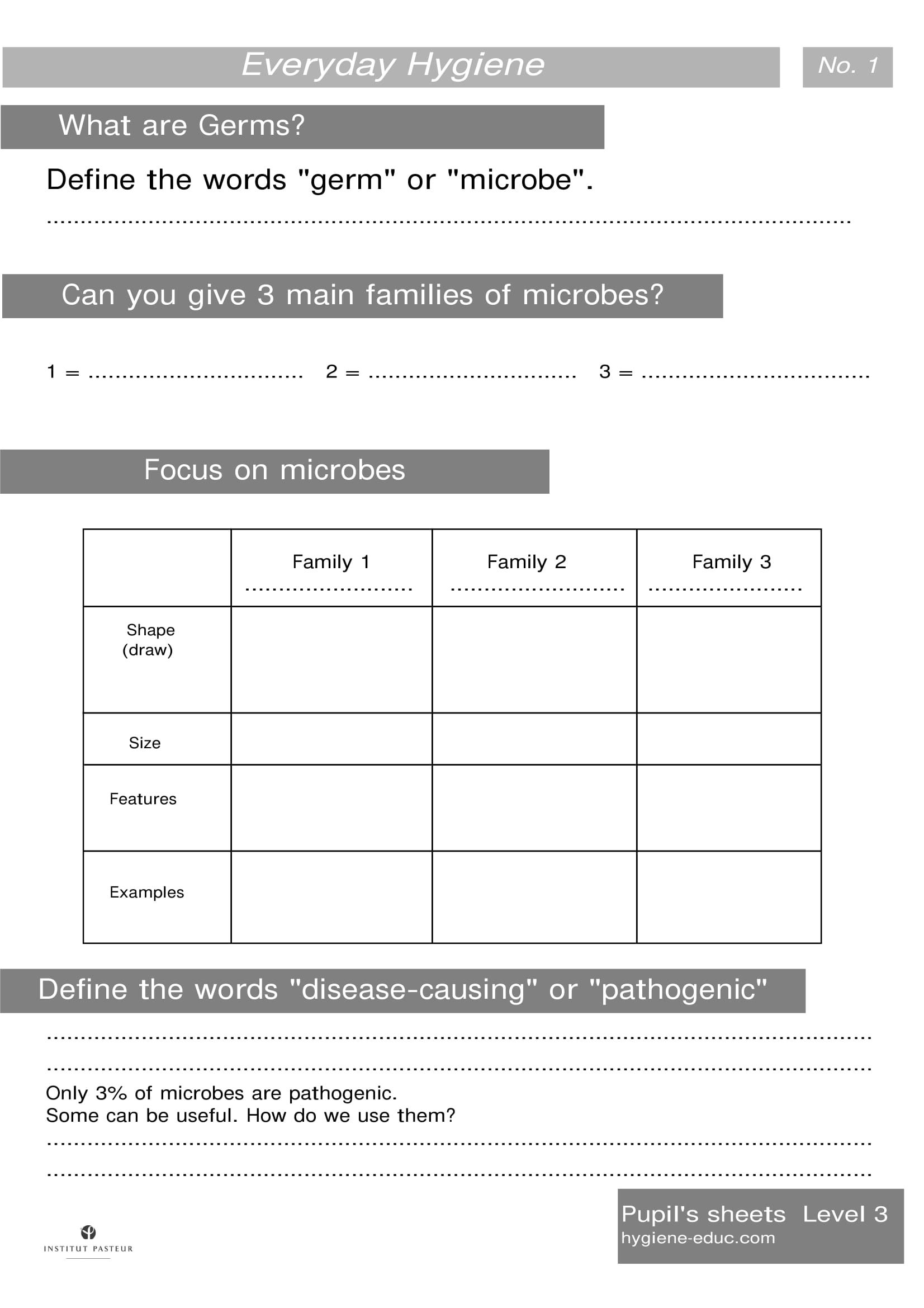 Everyday Hygiene Worksheets Level 3 Worksheets 1 What Are