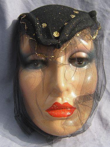 Scarce Old Vintage Pier Luigi Argentinian Black Veiled Dietrich Deco Lady Mask Veil