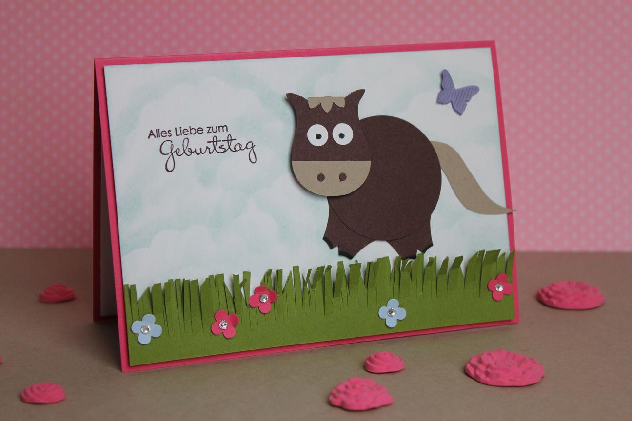 Punch art pferd horse stampin 39 up inspiration eulenstanzer - Geburtstagskarte basteln kinder ...