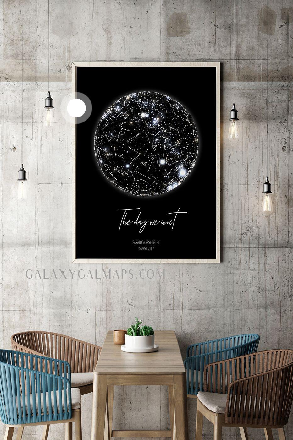 Custom Star Map Night Sky Chart Map Personalized Anniversary Gift