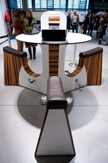 Great High Top Table That Produces Electricity Via A Stationary Bike. Make  That Lunch Break