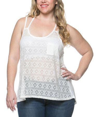 White Sheer Lace Racerback Tank - Plus #zulily #zulilyfinds