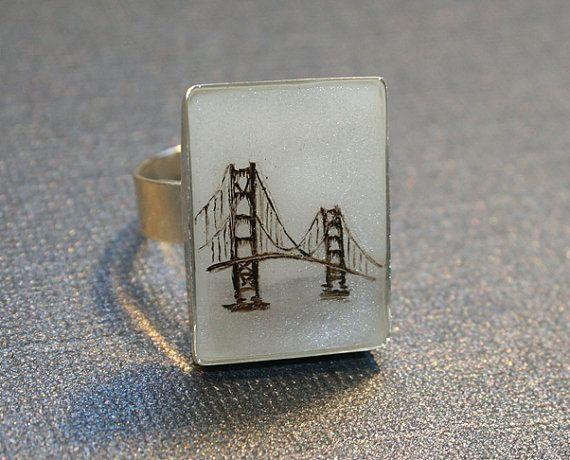SF Golden Gate Bridge Ring  Hand Painted San Francisco by RedIcebreaker