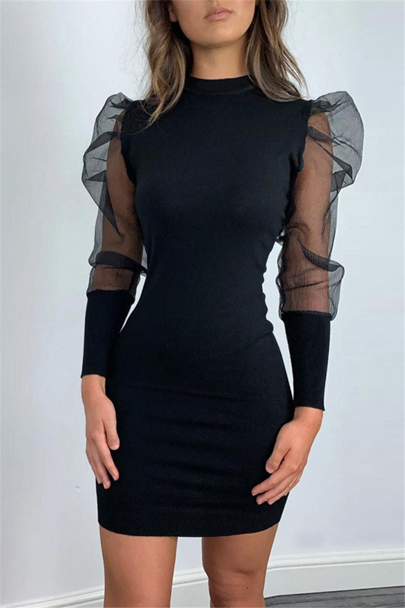 Fashion  Mesh Black Long Sleeve Dress (black/L)