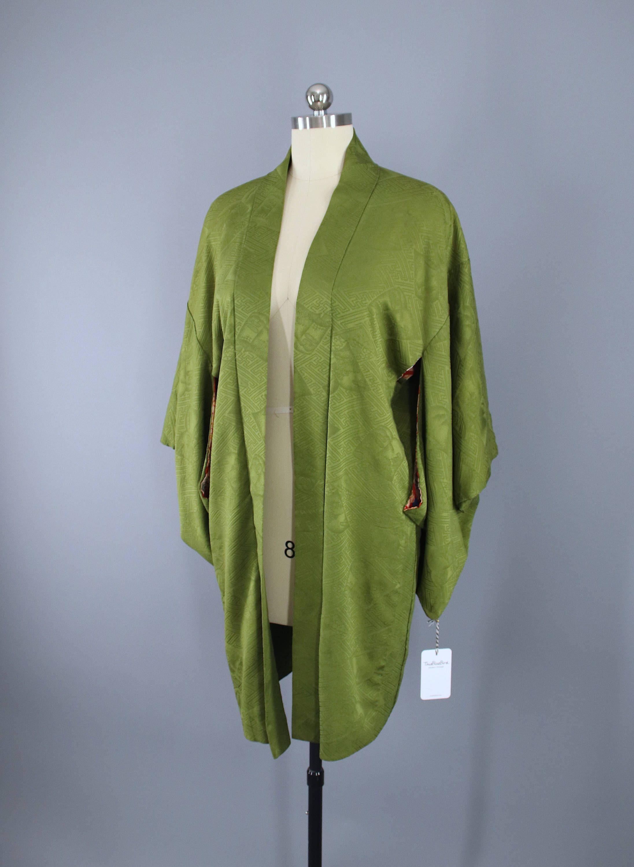 49fbedb2c Lovely vintage 1930s to 1940s silk haori kimono jacket in army green with a  rinzu woven