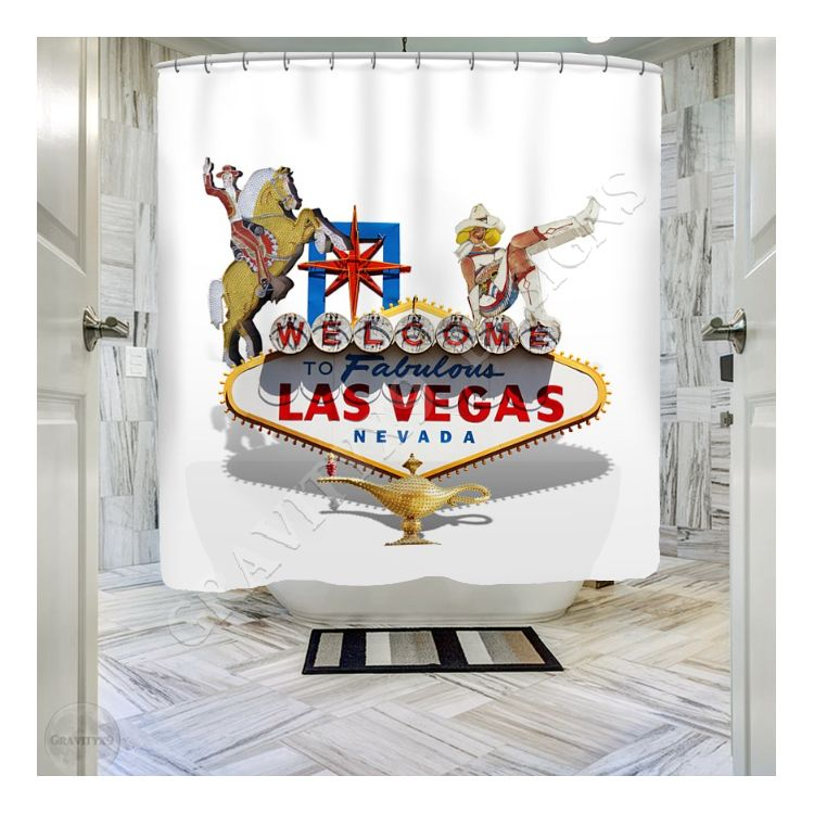 Las Vegas Symbolic Sign On White Shower Curtain For Sale By