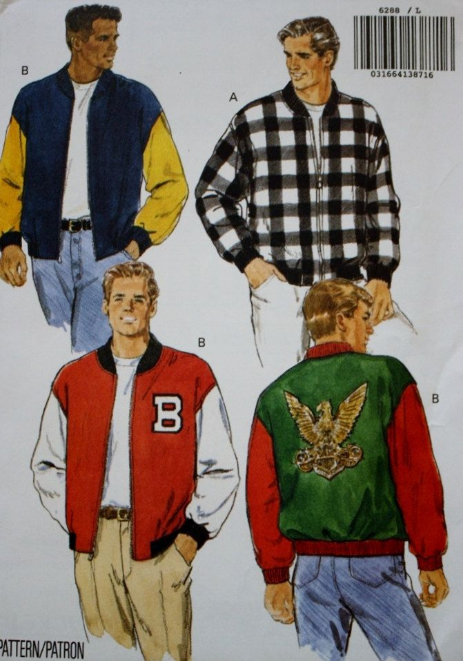 Mens Jacket Sewing Pattern Butterick 6288 UNCUT Size L-XL by… | Men ...