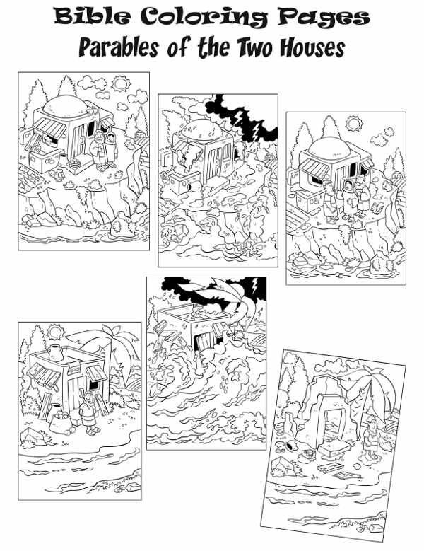 The Parable Of The 2 Houses Coloring Pages Bible Coloring