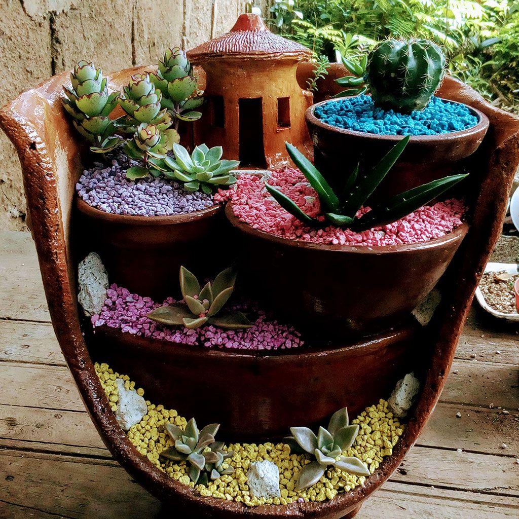 Jardin en miniatura cascada mini jardin cascada hecho for Curso cactus y suculentas