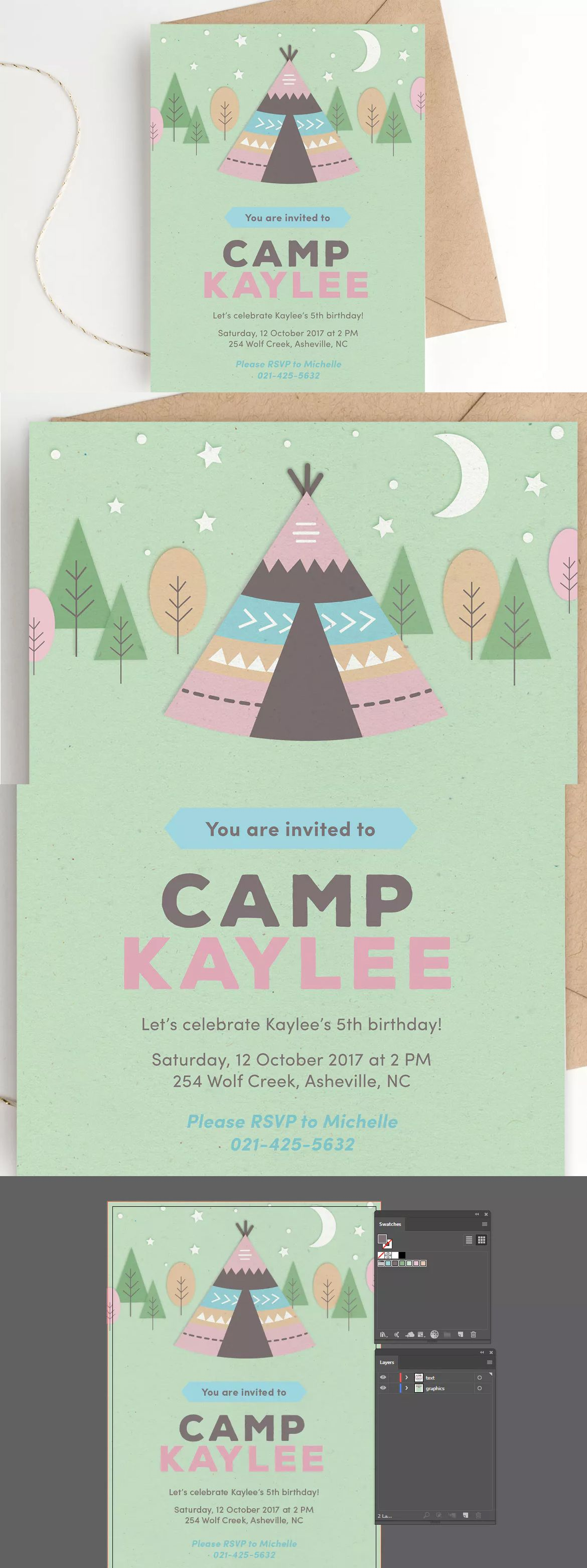 camping birthday party invitation template ai a5 invitation card