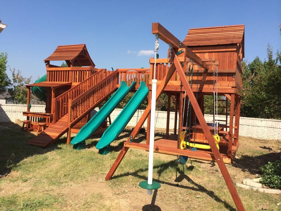Bridged Wooden Swing Sets | Wooden swing set, Swing set