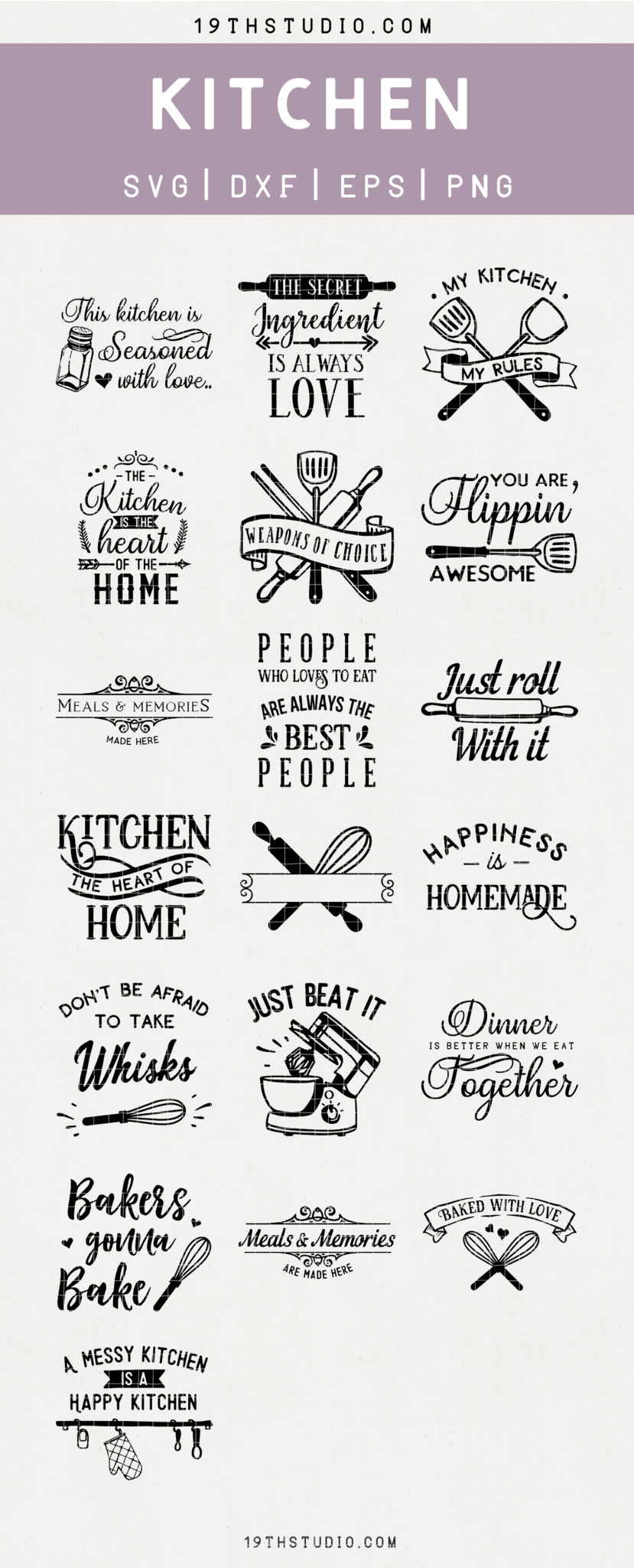 Kitchen SVG Files has 19 cut files that are perfect DIY home