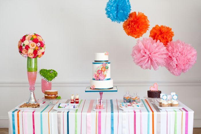 Super cool flower dessert table