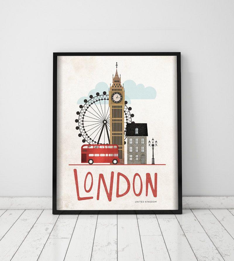 londres reino unido p ster arte impresi n digital ilustraci n viajes posters 40x50. Black Bedroom Furniture Sets. Home Design Ideas