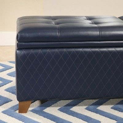 Phenomenal Maddox Quilted Storage Ottoman Navy Blue Abbyson Squirreltailoven Fun Painted Chair Ideas Images Squirreltailovenorg